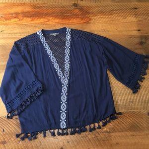 MISS ME Boho Cropped Kimono with Tassels, Medium